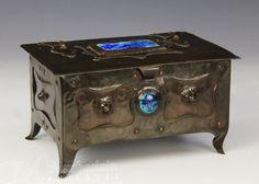 SPECTACULAR ANTIQUE OLD ARTS CRAFTS HAND MADE BRONZE  BOX CASKET W GLASS ENAMEL  | eBay