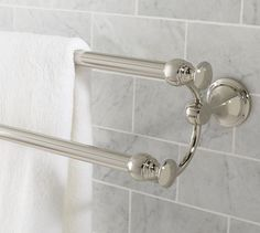 Photo Album For Website Maximize space in the bath with our Mercer Double Towel Bar Graceful curves connect the two bars crafted of drop forged brass and thickly plated for