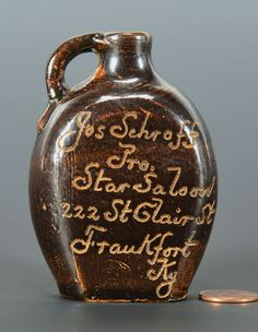 Frankfort, Kentucky Miniature Saloon Whiskey Jug: Lot 116. This lot was sold for $450 at our May 18, 2013 auction.