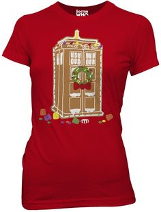 Doctor Who Holiday Gingerbread House Tardis Juniors T-Shirt, Red, Small