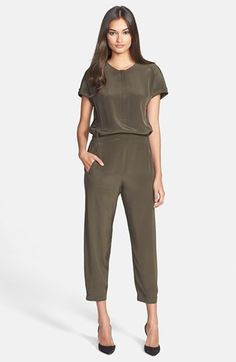 $395, Olive Jumpsuit: Short Sleeve Jumpsuit Hunter Green 2 by Vince. Sold by Nordstrom. Click for more info: http://lookastic.com/women/shop_items/54993/redirect