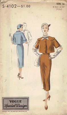 Vintage Vogue High Fashion 1950 Sewing Pattern Unique Style Flared Jacket Slim Wiggle Skirt Center Pleat