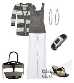 """""""Grey's Anatomy"""" by button519 ❤ liked on Polyvore featuring Hollister Co., Missoni, ANM, Versace, NewbarK, Bandolino, Daisy Fuentes, black sandals, flared pants and multi-color shopper"""