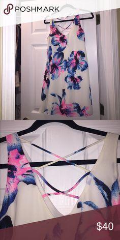 Floral sundress Floral sundress with cross back detail Aqua Dresses