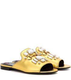 Gucci Embellished metallic leather slip-on sandals #ad