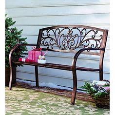 Outdoor Metal Bench Patio Garden Furniture Deck Porch Seat Durable Park Chair #MetalFurniture