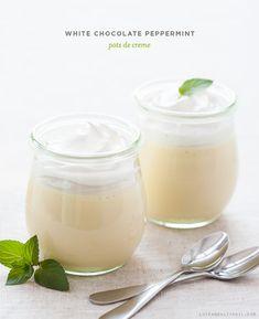 No-Bake White Chocolate Peppermint Pots de Creme {Love & Olive Oil} Mousse, Just Desserts, Delicious Desserts, Dessert Recipes, Holiday Treats, Holiday Recipes, Le Diner, Pots, Pavlova
