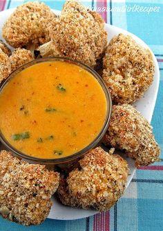 Cauliflower Bites with Cheddar Mustard Dipping Sauce