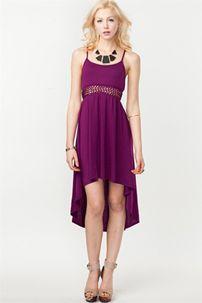 Open Weaved Waist Hi Lo Dress