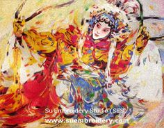 Chinese Peking Opera dancer, Zhao Jun, silk embroidered painting, all hand embroidered with silk threads, from Suzhou China, Su Embroidery Studio