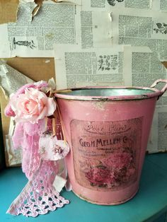 Charming galvanized metal bucket is very decorative in a Farmhouse and shabby cottage home decor.  * Pink basket- Painted in pink and gave rust to the top and bottom of the buckets for more of a vintage look and embellished with tattered pink fabrics,roses and heart ornament.  It would be perfect for flower planter, holding washcloth or hand towels, craft supplies, or wedding centerpiece and even a decorative piece, etc....  measures 8 inches tall and 8 inches wide at the top.  *CREDIT CARDS…