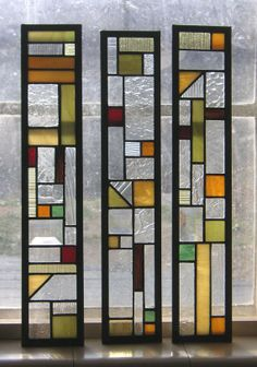3 Cabinet Door Clear Textured and Opaque Stained Glass Inserts-