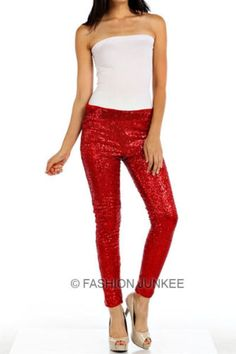 RED-SEQUIN-LEGGINGS-Pants-Metallic-Stretch-NEW-Long-Holiday-Womens-Sexy-S-M-L