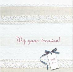 Klassieke trouwkaart met kant uit de collectie 'Kant en Brocante' trouwkaarten van Kaartopmaat.nl