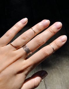 stacked thin rings / TheStrayArrow on etsy