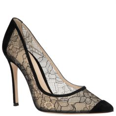 Gianvito Rossi black lace pumps with black suede tip, with 11cm heel, available from shop.wunderl.com