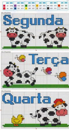 Clube Vaquinha Malhada / Club Spotted Fluffy Cow: A Vaquinha da Semana / The Little Cow of the Week : Esquema de Ponto Cruz com Vacas / Scheme for Cross Stitch with Cows Cross Stitch Cow, Cross Stitch For Kids, Cross Stitch Needles, Cross Stitch Charts, Cross Stitch Designs, Chicken Scratch Patterns, Chicken Scratch Embroidery, Cross Stitching, Cross Stitch Embroidery