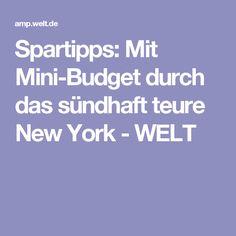 Spartipps: Mit Mini-Budget durch das sündhaft teure New York - WELT