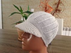 lady's crochet hat with eyeshade by steficrochetideas on Etsy