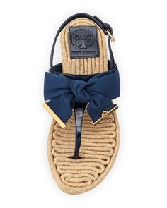 Tory Burch Penny Flat Bow Espadrille Thong Sandals, Newport Navy - Bergdorf Goodman