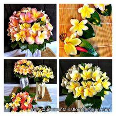 Tropical Frangipani, Plumeria Wedding Flowers, Bouquets, floral designs www.bluemountainsfloraldesigns.com