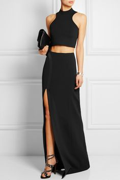 Mugler|Side-split satin-trimmed crepe maxi skirt|NET-A-PORTER.COM