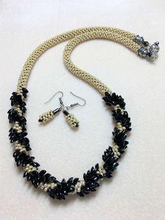 Ebony and Ivory Beaded Kumihimo Necklace and Earrings,kumihimo braiding design
