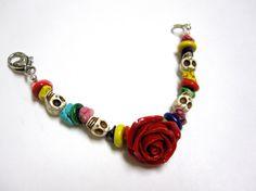Day Of The Dead Bracelet Sugar Skull Jewelry by sweetie2sweetie, $21.99