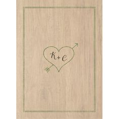 Love the back of this rustic wedding invitation with the initials carved inside a heart