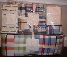 4P NIP Pottery Barn Kids MADRAS Crib Nursery Bedding Set with GATOR FITTED Sheet #PotteryBarnKids