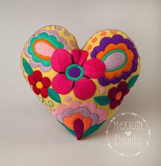 Hand embroidered Heart Pillow / Mexican Embroidered Pillow / Ready to Ship / Girl Decor / Home Decor / Magenta Background / Floral design Folk Art Flowers, Crochet Squares Afghan, Crochet Keychain, Heart Pillow, Girl Decor, Wool Applique, Felt Hearts, Heart Art, Mexican Art