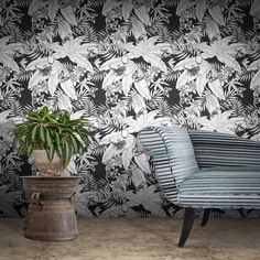 An understated way to do the tropical trend: Monochrome Jungle Wallpaper by Glenn Todd B&q Wallpaper, Wallpaper Online, Animal Wallpaper, Nature Wallpaper, Modern Floral Wallpaper, Contemporary Wallpaper, Floral Wallpapers, Stunning Wallpapers, Beautiful Wallpaper