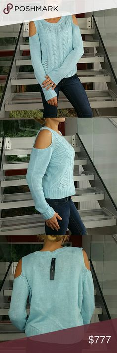 """Baby blue cable knit sweater NWT Brand new with tags!!  Lovely baby blue cold-shoulder cable knit sweater. Perfect for the season we're heading into. Pair with your favorite pair of jeans and a floppy hat for a ready to go look.   Material 100% acrylic  Size medium  Bust side to side approx 20""""  Length approx 20"""" Sweaters"""