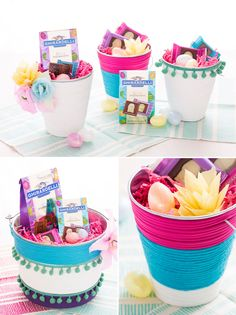 Use this tutorial to turn a basic bucket into a colorful Easter basket.
