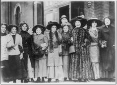 Group of striking women - shirtwaist workers. NYC. 1909 Archival Fine Art Paper Print