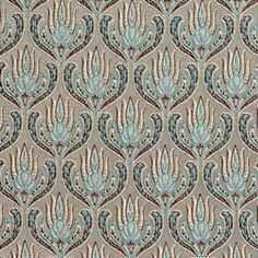 Turquoise Velvet Damask Upholstery Fabric Modern