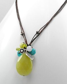Sterling Silver Lemon Jade Turquoise Beaded Necklace