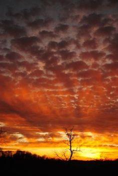 Dramatic sunrise from a ridgetop
