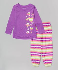 Loving this Purple & Lime Stripe Star Pajama Set - Girls on #zulily! #zulilyfinds