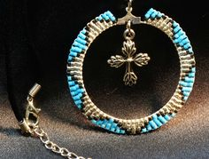 Turq circle with cross Necklace