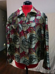 BUY IT NOW! Jean Jacket Chico's Design Size 2 Gold Red Black Floral 24% Silk Chest Pockets  | eBay