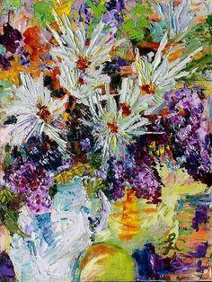 Chrysanthemum And Lilacs Still Life Fine Art  Modern Impressionist Original Oil…