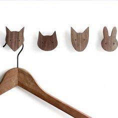 Wood Animal Wall Hooks from Apollo Box – Coat Hanger Design Wood Hanger, Hat Hanger, Hanger Hooks, Wooden Wall Hooks, Diy Wood Wall, Fox Pillow, Apollo Box, Wood Animal, Decorative Hooks