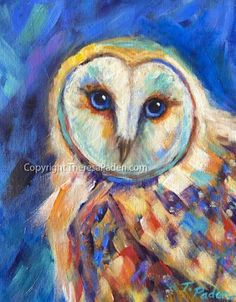 Colorful Owl Painting by Theresa Paden, painting by artist Theresa Paden