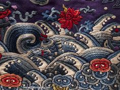 Detail of silk embroidery on antique Chinese robe