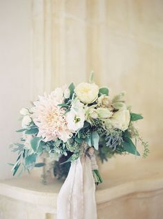 Loose Bouquet with Garden Roses, Dahlia, and Greenery | http://Brides.com