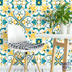 Modern Marrakesh Removable Wallpaper / Moroccan self adhesive wallpaper / Geometric wall mural G208-27