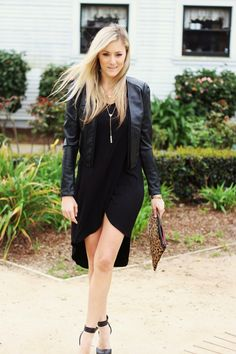 All Black, LBD, Leather Jacket, Leopard Clutch @beyourdreams, @bcbgmaxazria, @charlotterusse