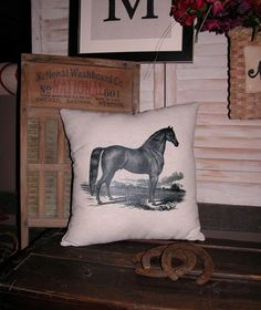 VintageLooking Horse Pillow Accent by FannyElizabethDesign on Etsy, $14.95