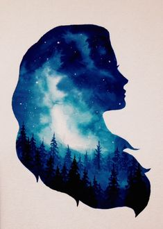 Girl Forest Double Exposure Art Print by Ahmad Illustrations - X-Small Galaxy Painting, Galaxy Art, Girl Drawing Sketches, Cute Drawings, Mädchen Tattoo, Double Exposition, Silhouette Painting, Shadow Art, Human Art